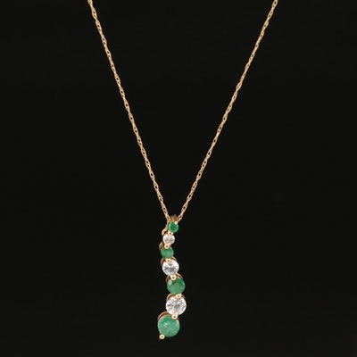 14K Emerald and Sapphire Journey Pendant Necklace