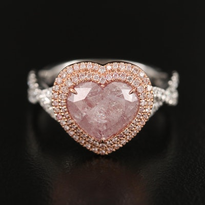 18K 3.50 CTW Diamond Heart Ring with GIA Report and Rose Gold Accent