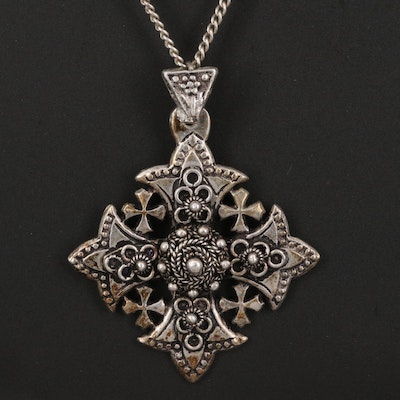 900 Silver Jerusalem Cross Pendant on Sterling Curb Chain Necklace