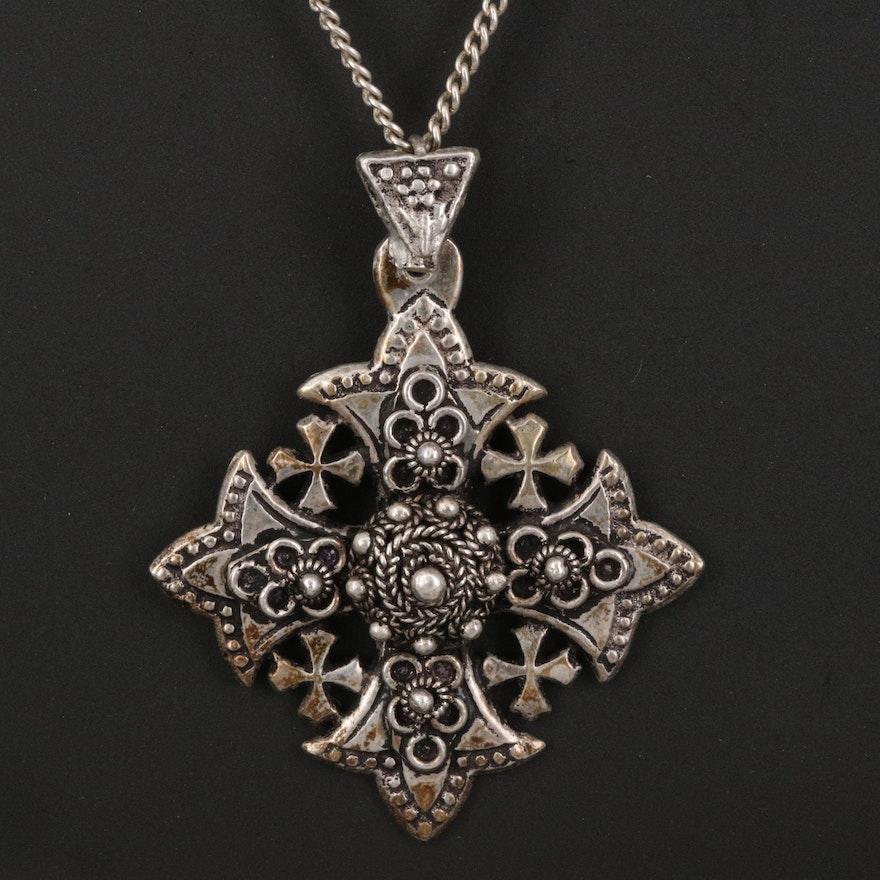 900 Silver Jerusalem Cross Pendant on Sterling Curb Chain Necklace