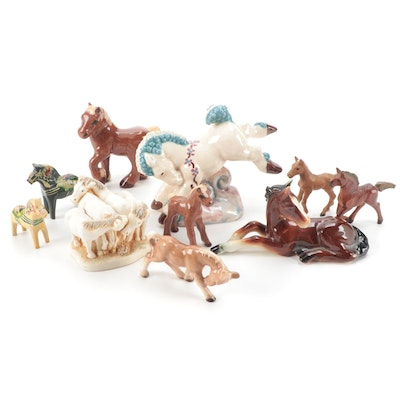 Harmony Kingdom with Other Ceramic and Carved Wooden Horse Figurines