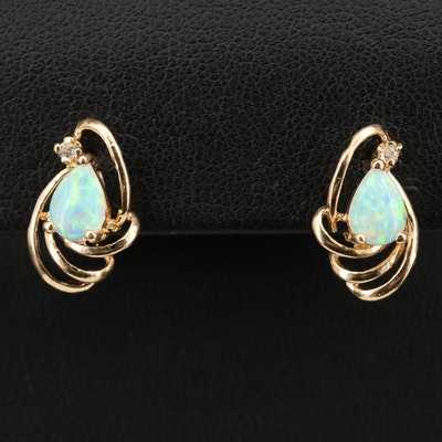 14K Opal and Diamond Earrings