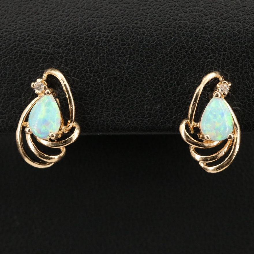 14K Opal and Diamond Earrings