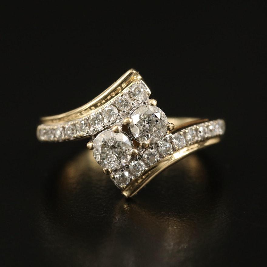 10K Diamond Bypass Ring