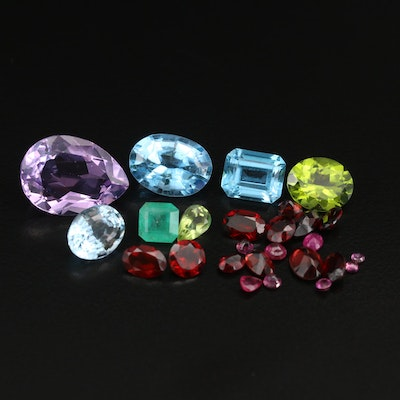 Loose 39.73 CTW Gemstones Including Amethyst, Topaz and Garnet