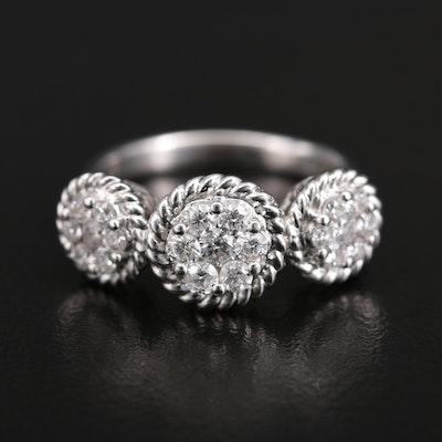14K Diamond Triple Cluster Ring