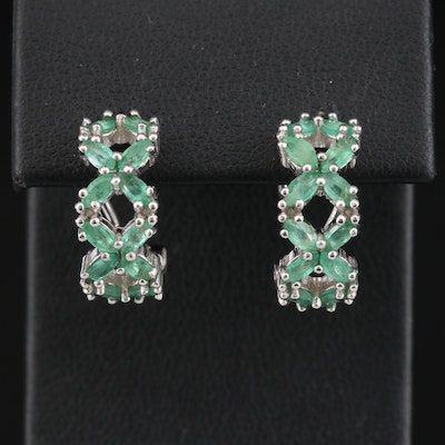 Sterling Emerald Half Hoop Earrings