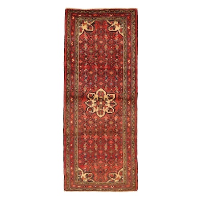 2'8 x 6'8 Hand-Knotted Persian Zanjan Carpet Runner, 1970s