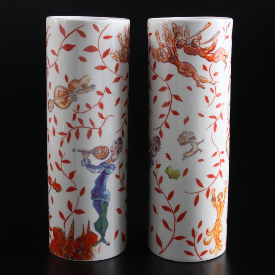 """The Metropolitan Opera Guild """"The Triumph of Music"""" Vases after Marc Chagall"""
