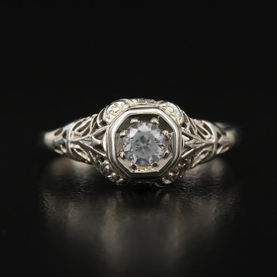 Edwardian 14K Zircon Openwork Ring