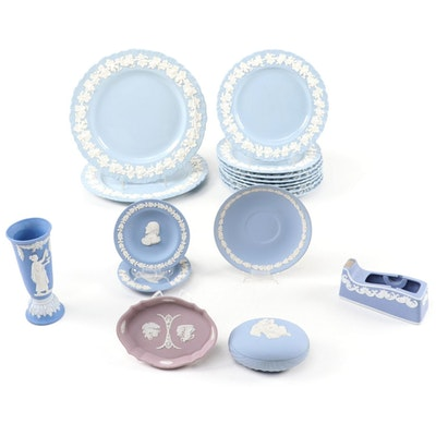 Wedgwood and Other Jasperware and Embossed Queen's Table Accessories