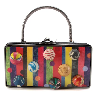 Embellished Multicolor Striped and Dotted Frame Purse, Customized by Pam McMahon
