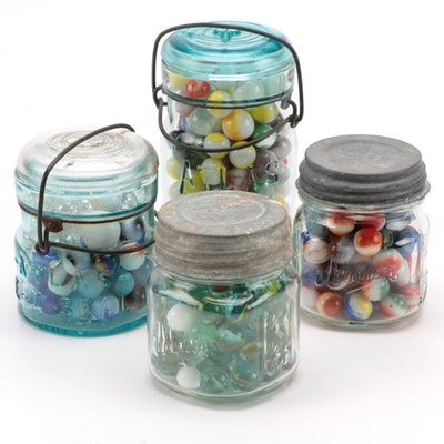 Opaque, Swirl, Glass Playing Marbles in Atlas and Mason Glass Jars
