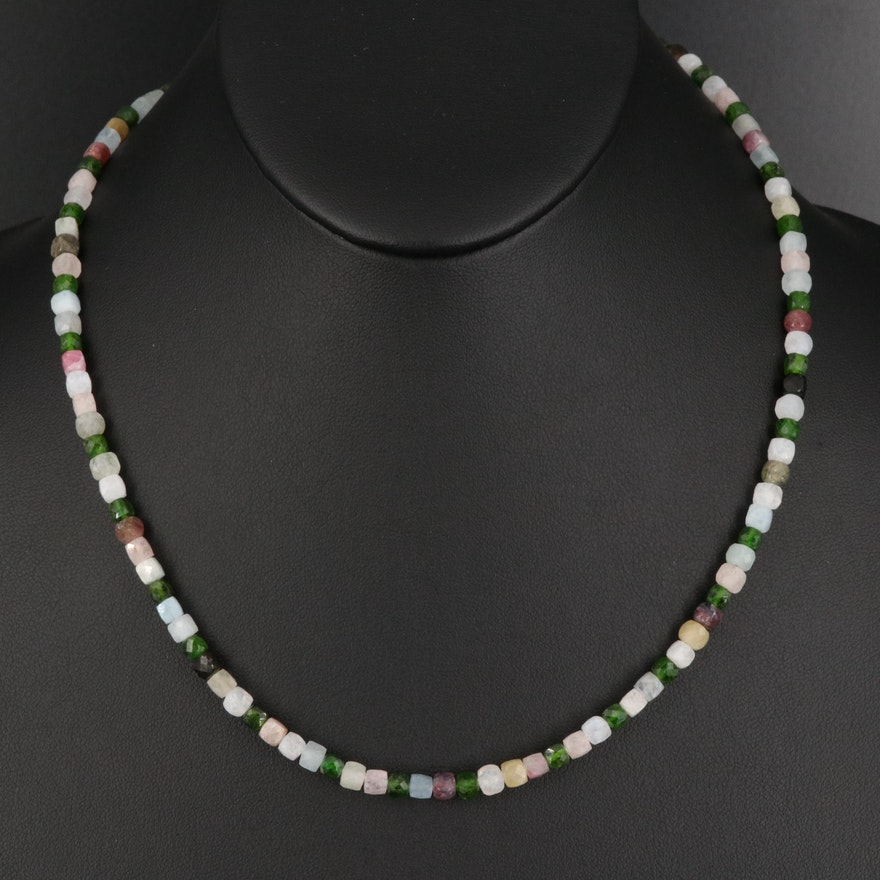 Gemstone Necklace with Chrome Diopside, Tourmaline and Moonstone