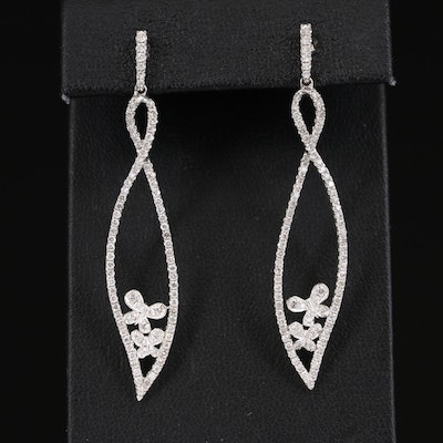 14K 1.12 CT Diamond Butterfly Earrings
