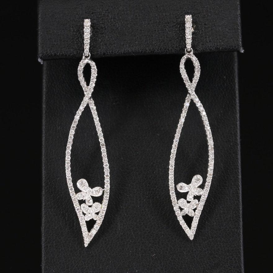 14K 1.12 CT Diamond Butterfly Earrings