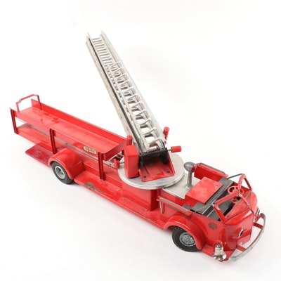 Model Toys Pressed Steel and Cast Aluminum Rossmoyne Aerial Ladder Fire Truck