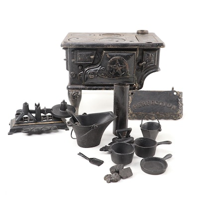Perfection Cast Iron Toy Stove with Pots, Pans, Bins, and Iron, circa 1900