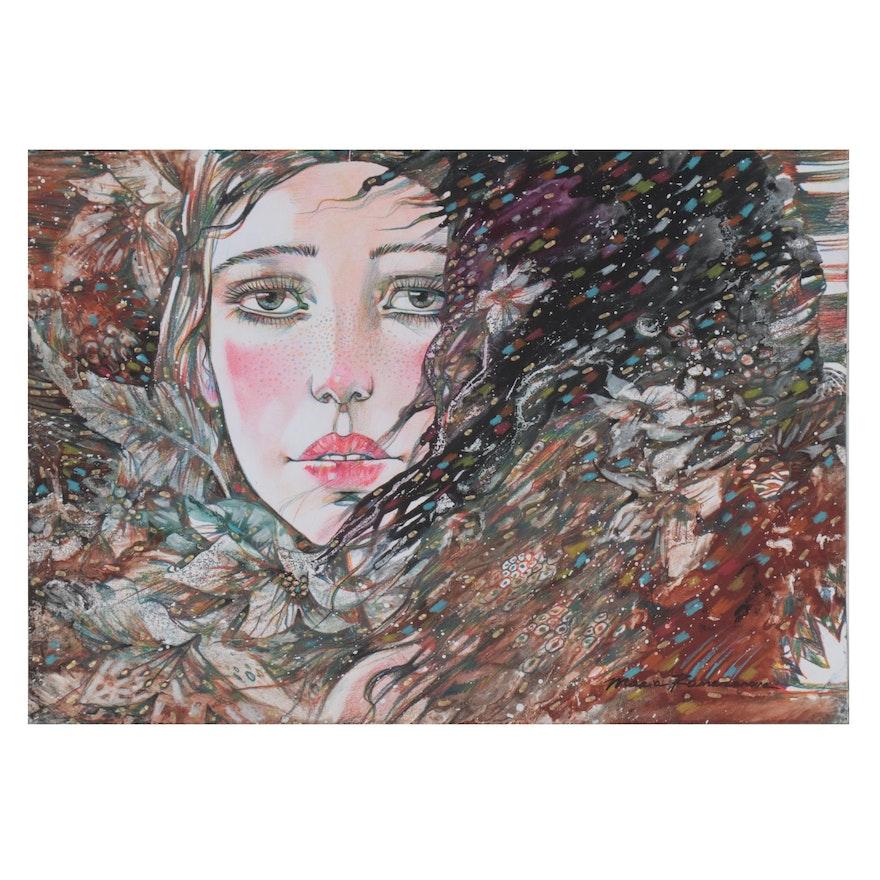 Maria Ramazanova Stylized Mixed Media Drawing, 2021