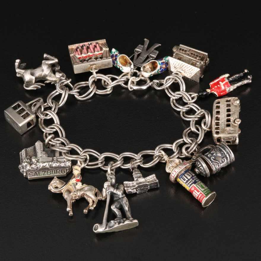 Vintage Sterling Travel Themed Charm Bracelet with Mixed Silver Charms