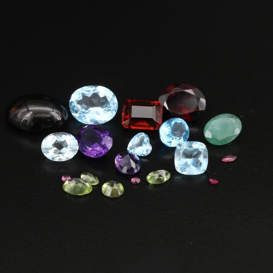 Loose 39.88 CTW Gemstones Including Smoky Quartz and Topaz