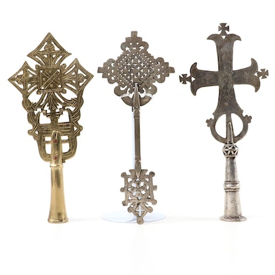 Greek Orthodox Brass and Silver Plate Religious Finial Ornaments