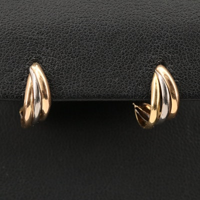 14K Tri-Color Gold Twist J Hoop Earrings