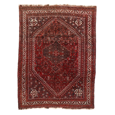 7'4 x 10' Hand-Knotted Persian Shiraz Rug, 1950s
