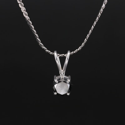 18K and 14K 1.00 CT Black Diamond Solitaire Pendant Necklace