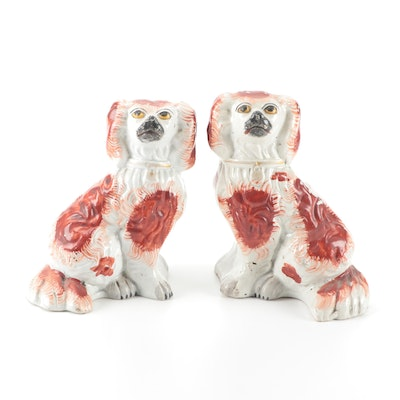Pair of Staffordshire Rust Spaniel Ceramic Figurines, Late 19th/Early 20th C.