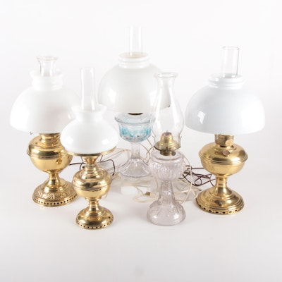 Brass and Pressed Glass Converted Oil Table Lamps, Mid-20th Century