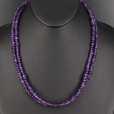 Amethyst Double Strand Necklace with Sterling Clasp