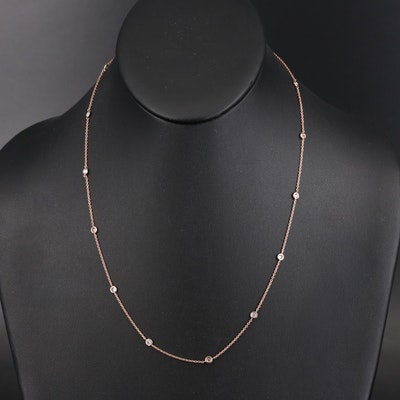 14K Rose Gold 1.00 CTW Diamond Station Necklace