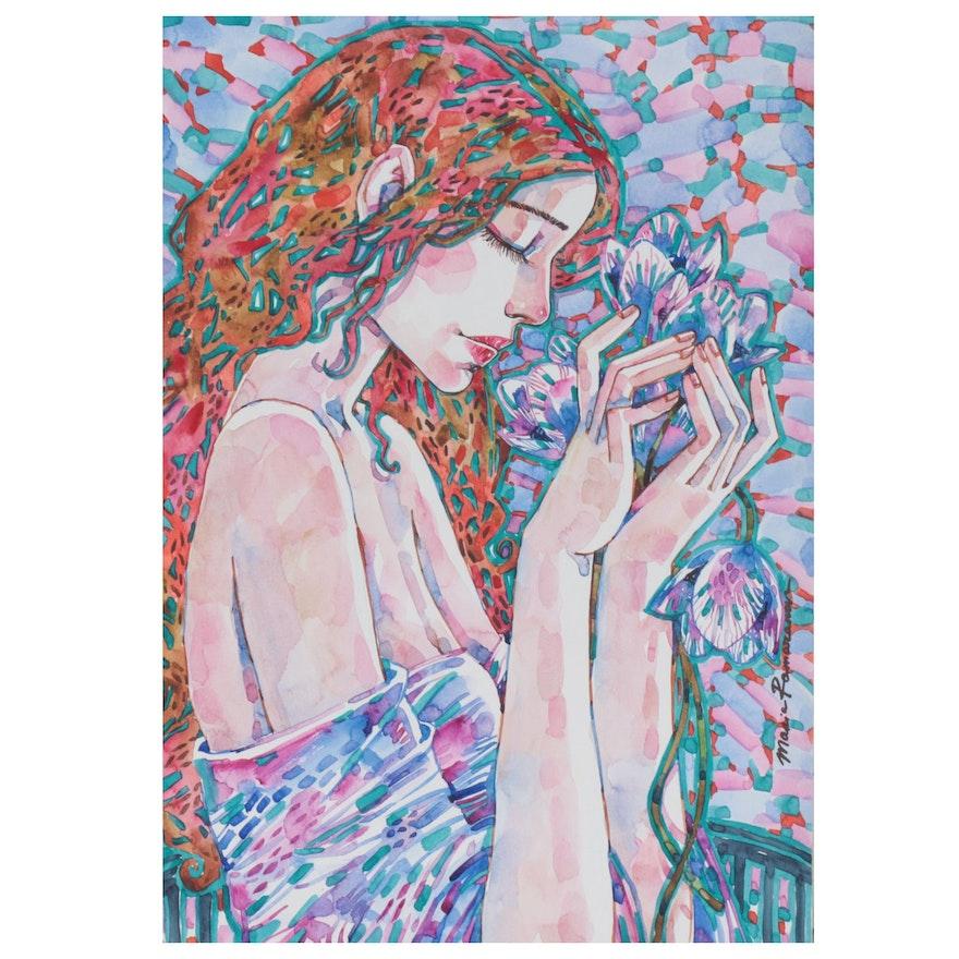 Maria Ramazanova Stylized Watercolor Painting, 2021