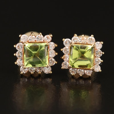 18K Peridot and Diamond Stud Earrings