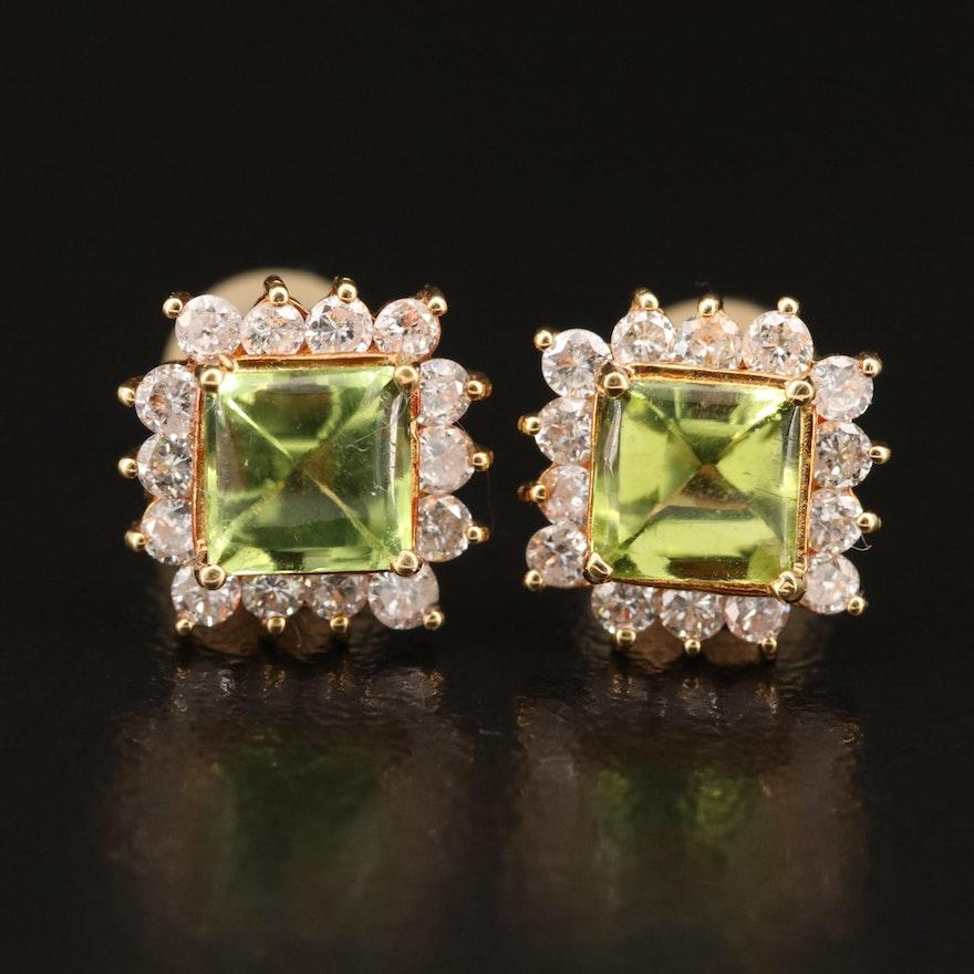 18K Peridot and Diamond Stud Earrings