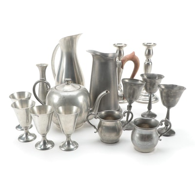 Continental Pewter Tea Set and Other Pewter Tableware, Mid to Late 20th Century