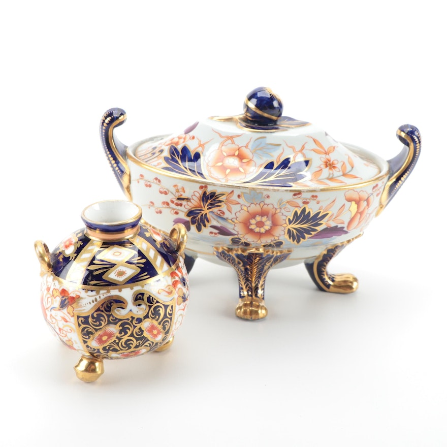 """Davenport English Imari Footed Covered Dish and """"Witches"""" Vase, 19th Century"""