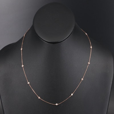 18K Rose Gold Bezel Set Diamond Station Necklace