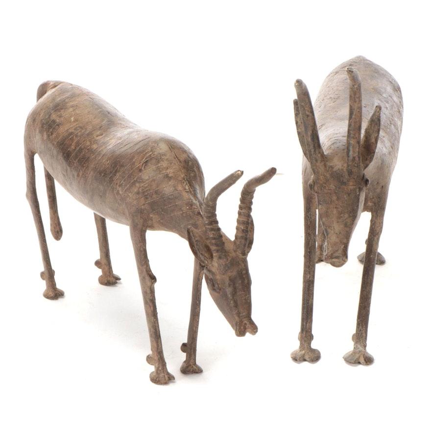 West African Brass Antelope Sculptures