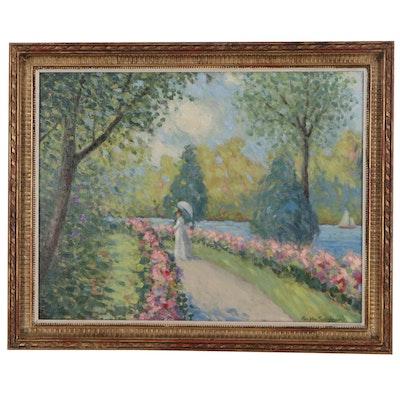Ron Van Sweringen Oil Painting of Impressionist Style Figural Landscape