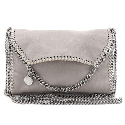 Stella McCartney Mini Falabella Crossbody in Grey Shaggy Deer Faux Suede