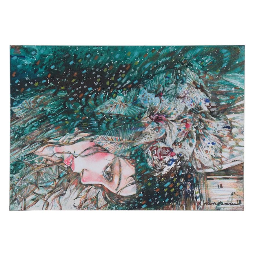 Maria Ramazanova Stylized Mixed Media Painting, 2021