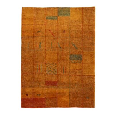 5' x 6'9 Hand-Knotted Persian Gabbeh Pictorial Rug, 1980s
