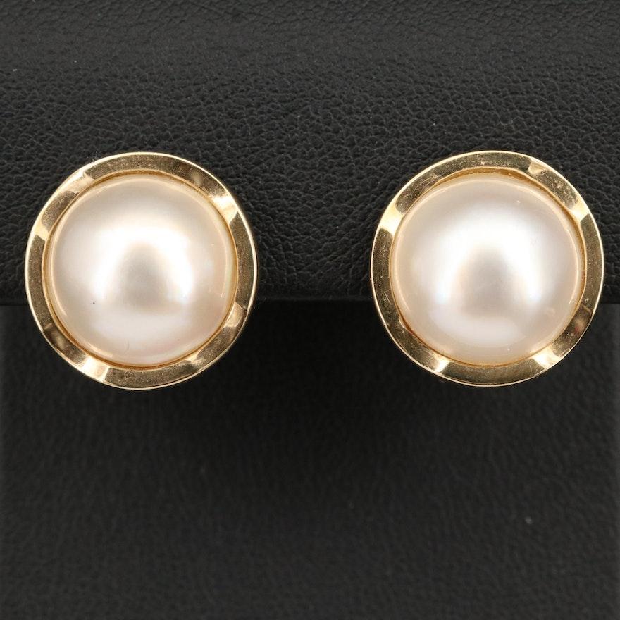 14K Round Mabé Pearl Earrings