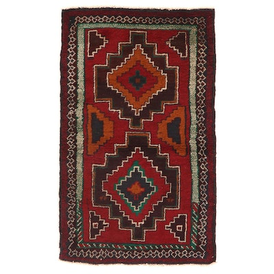 2'9 x 4'6 Hand-Knotted Afghan Tribal Baluch Wool Accent Rug