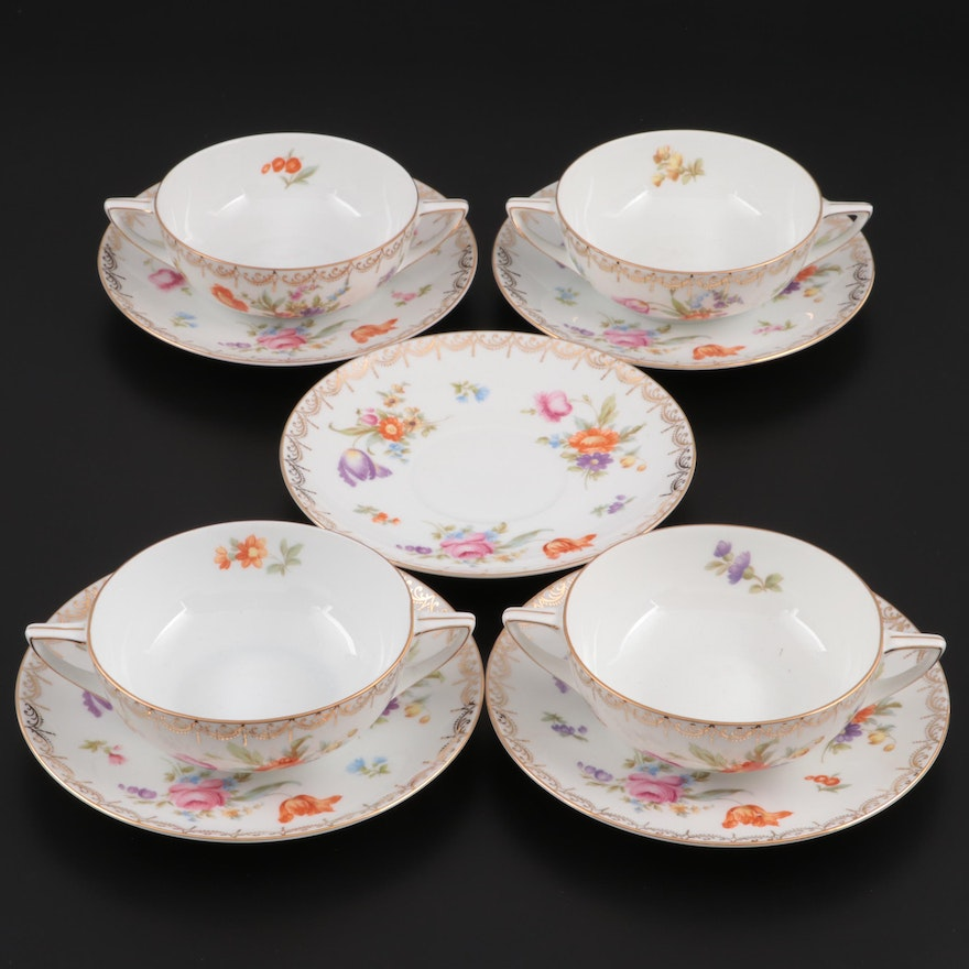 """Rosenthal """"Meissen"""" Flat Cream Soups and Saucers, Mid to Late 20th Century"""