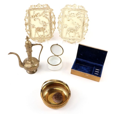 Brass Jewelry Box with Other Decorative Accessories, 20th Century