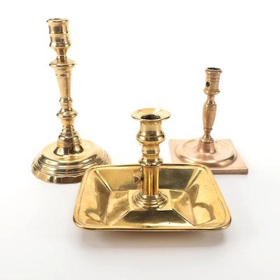 American Brass Chamberstick with European Brass Candlesticks, Antique