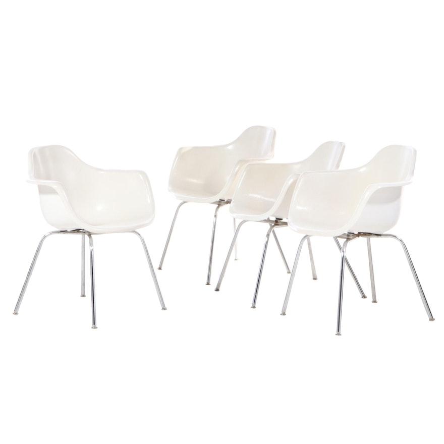 Krueger Mid Century Modern Off White Molded Fiberglass Armchairs